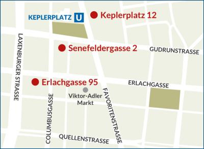 Karte Männerberatung mit eingezeichneten Standorten